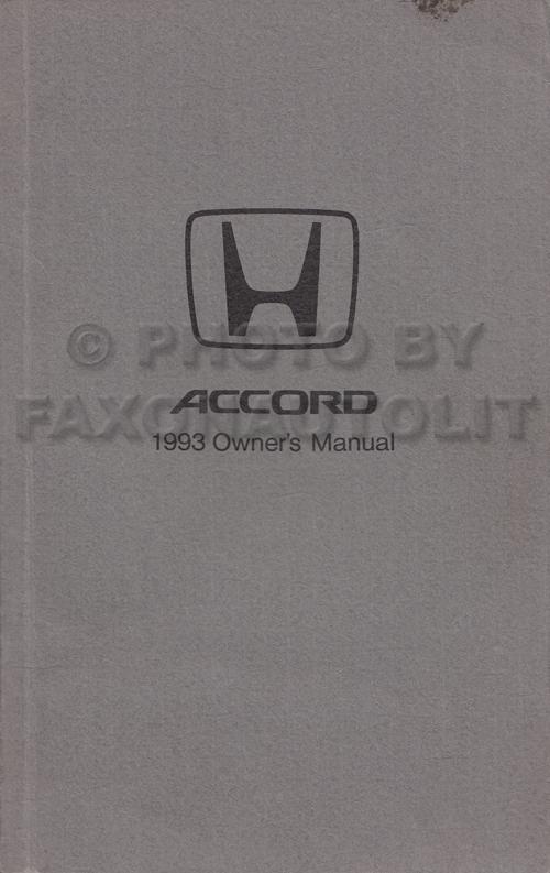 1993 Honda Accord 4 Door Sedan Owner's Manual Original