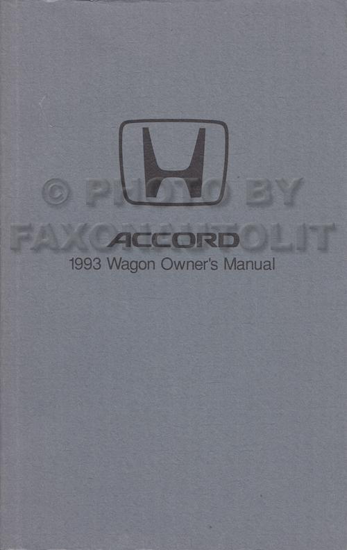 1993 Honda Accord Wagon Owner's Manual Original