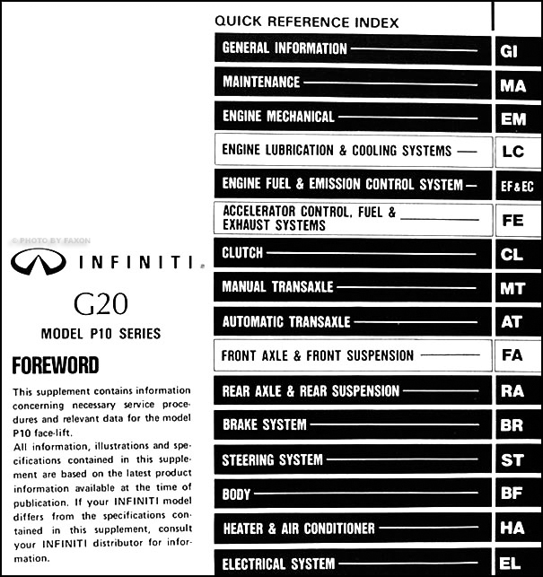 1993 5 Infiniti G20 Repair Shop Manual Original Supplement