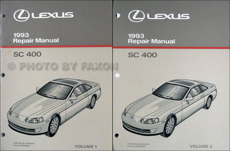 1993 lexus sc 400 repair shop manual original 2 volume set rh faxonautoliterature com Lexus Manuals Shop Lexus Manuals Shop