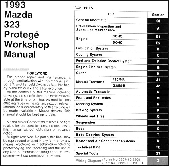1993 Mazda 323 And Protege Repair Shop Manual Originalrhfaxonautoliterature: Mazda 323 Hatchback Wiring Diagram At Elf-jo.com