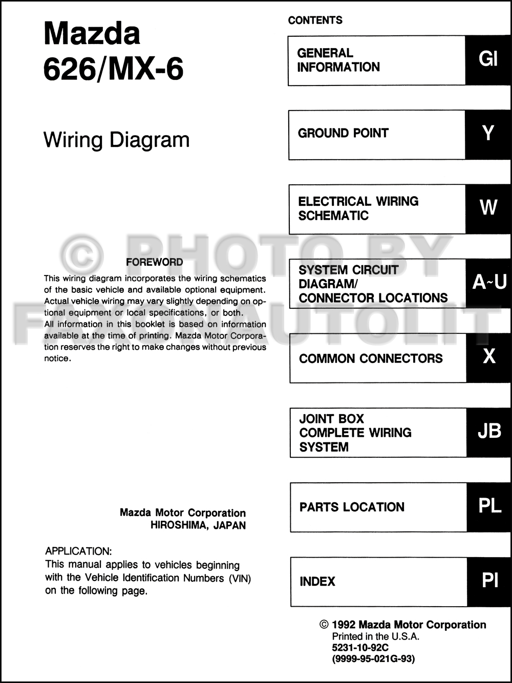 1993Mazda626MX6OWD TOC 1993 mazda 626 and mx 6 wiring diagram manual original 1999 mazda 626 radio wiring diagram at fashall.co