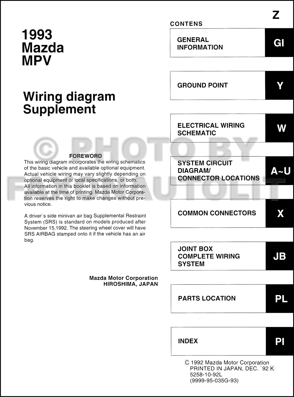 Mazda 2 Airbag Wiring Diagram : Mazda mpv wiring diagram manual original for vans