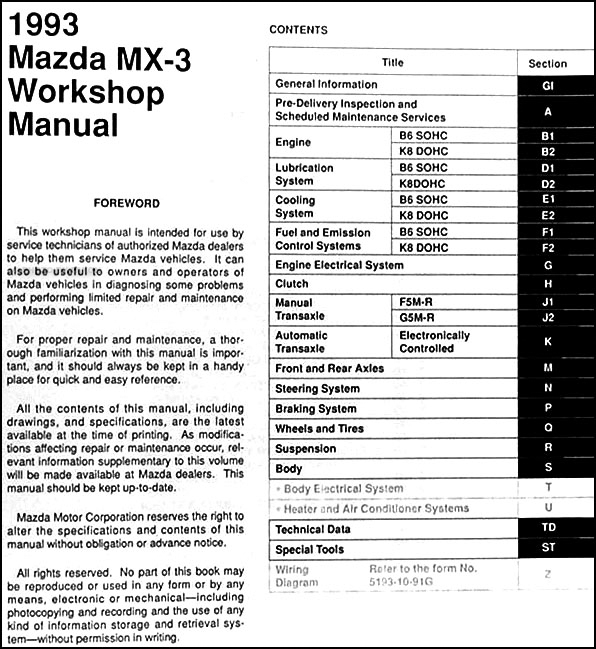 1993MazdaMX 3ORM TOC 1993 mazda mx 3 repair shop manual original 94 miata radio wiring diagram at nearapp.co