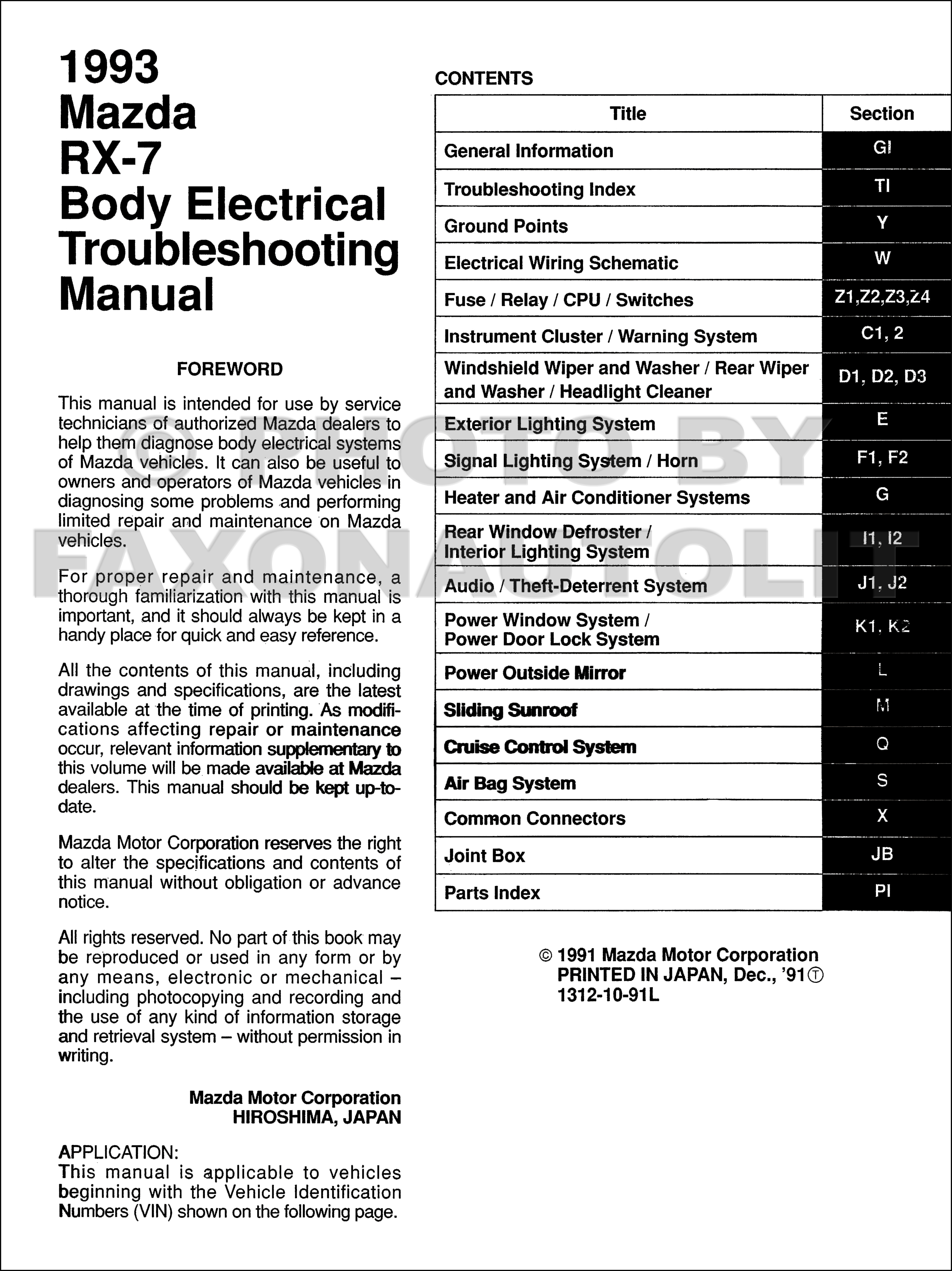1993 Mazda RX7 Body Electrical Troubleshooting Manual Original