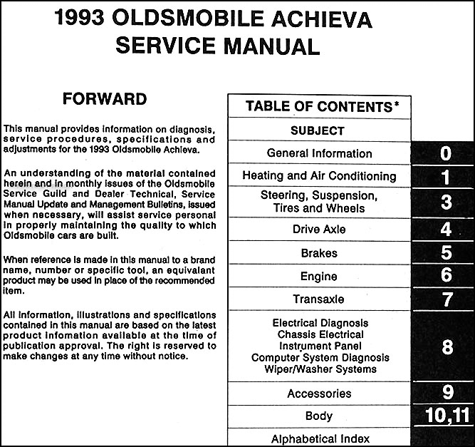 1993 Oldsmobile Achieva Repair Shop Manual Original