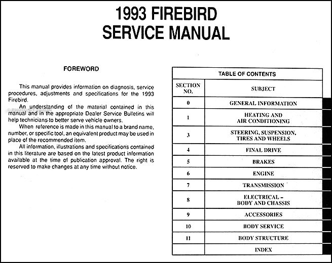 1993 pontiac firebird and trans am repair shop manual original rh faxonautoliterature com 1970 Trans AM Wiring Diagram 68 Firebird Wiring Diagram