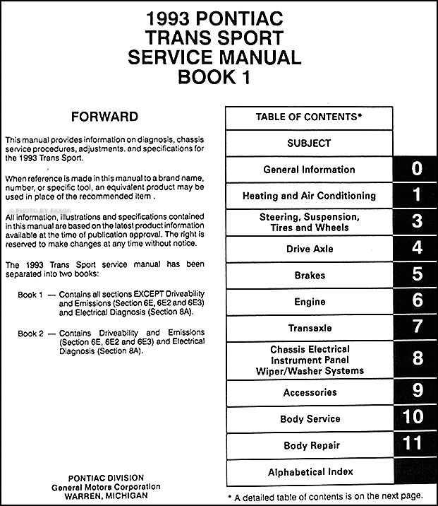 1993PontiacTransSportORM TOC1 1993 pontiac trans sport van repair shop manual original 2 volume set 1992 pontiac trans sport radio wiring diagram at soozxer.org
