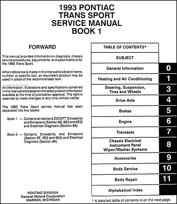 1993PontiacTransSportORM TOC1 1993 pontiac trans sport van repair shop manual original 2 volume set 1992 pontiac trans sport radio wiring diagram at n-0.co