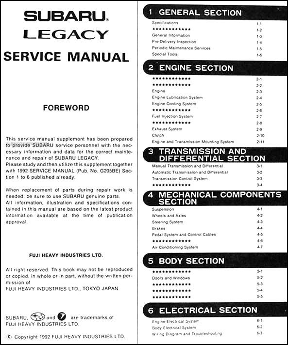1993 Subaru Legacy Repair Shop Manual Supplement Original