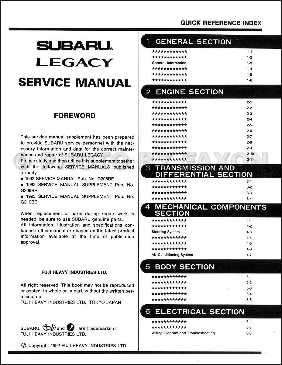 service manual pdf 1993 subaru legacy workshop manuals. Black Bedroom Furniture Sets. Home Design Ideas