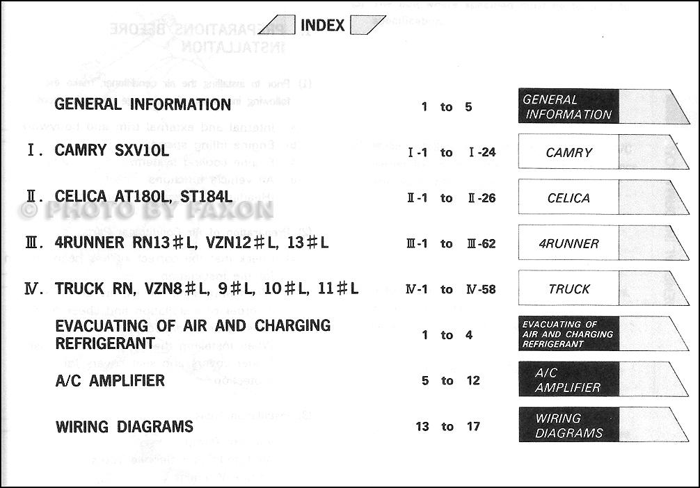 1993 Toyota Camry  Celica  4runner  Truck A  C Installation Manual Original