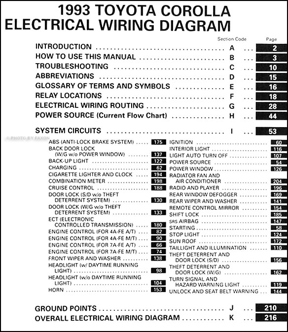 1993 Toyota Corolla Wiring Diagram Manual Original