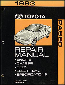 1993 Toyota Paseo Repair Manual Original
