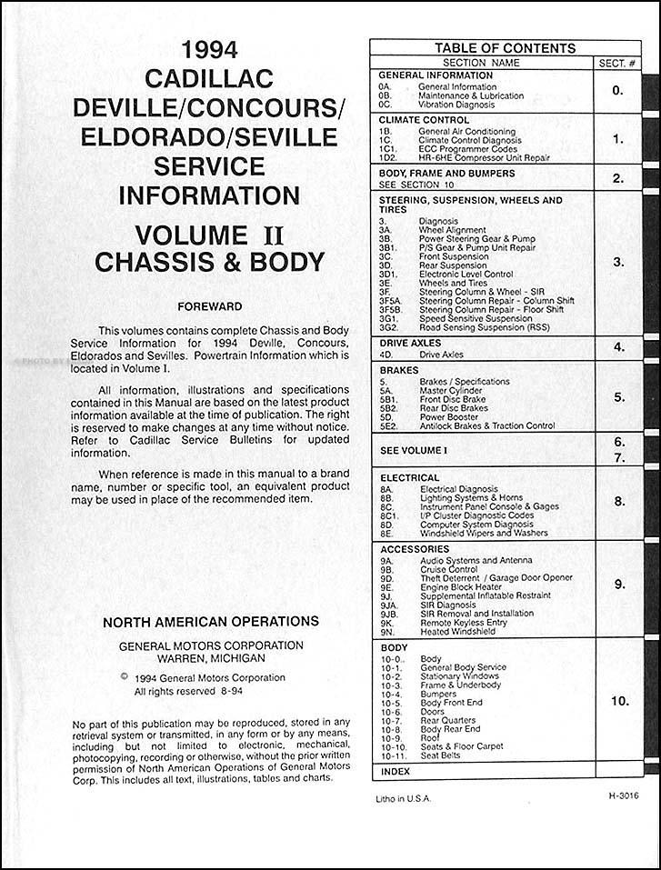 1994 cadillac repair shop manual original deville concours eldorado rh faxonautoliterature com 1994 cadillac deville repair manual 1994 cadillac deville repair manual