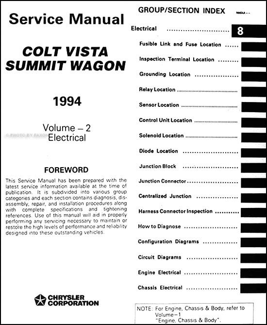 1994 colt vista summit wagon repair shop manual original 2 volume set rh faxonautoliterature com Eagle Summit DL 1990 Eagle Summit