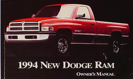 1994 Dodge Ram Pickup Truck Original Owner's Manual, Gas