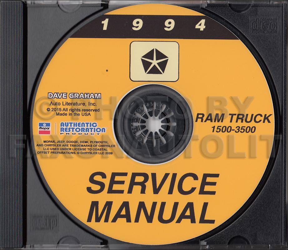 1994 Dodge Ram 1500-3500 Truck Repair Shop Manual CD