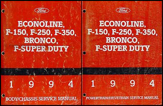 1994 Ford Repair Shop Manual F150-F350 Pickup Bronco F-Super Duty Econoline Van