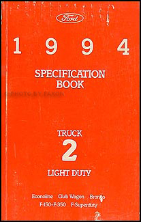 1994 Ford Pickup and Van Service Specifications Book Original