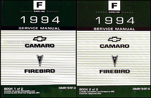 1994 Camaro, Firebird, & Trans Am Shop Manual 2 Volume Set Original