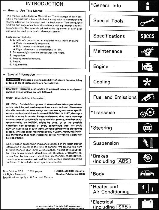 1994 honda civic del sol repair shop manual original rh faxonautoliterature com 1993 Honda Del Sol Honda CRX