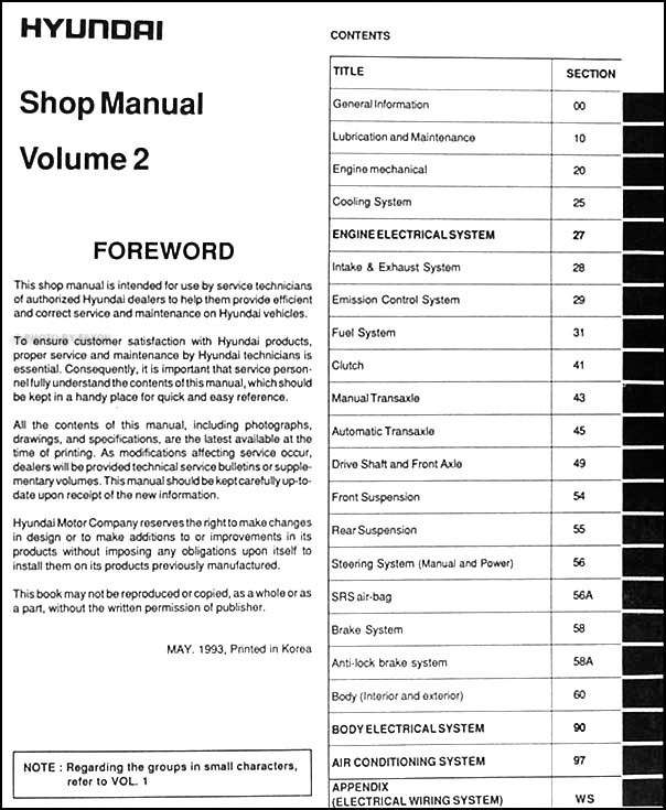 1994 hyundai elantra repair shop manual original 2 vol set rh faxonautoliterature com hyundai elantra repair manual free download hyundai elantra repair manual free