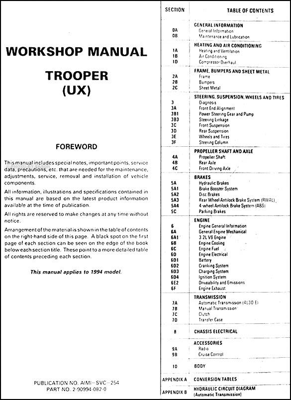 1994IsuzuTrooperORM TOC1 1994 isuzu trooper repair shop manual,Wiring Diagram For 1994 Isuzu Trooper