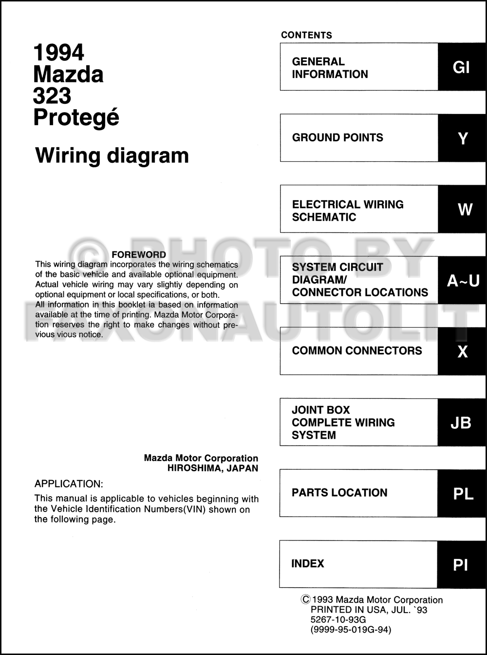 mazda protege headlight wiring 1994 mazda 323 and protege wiring diagram manual original