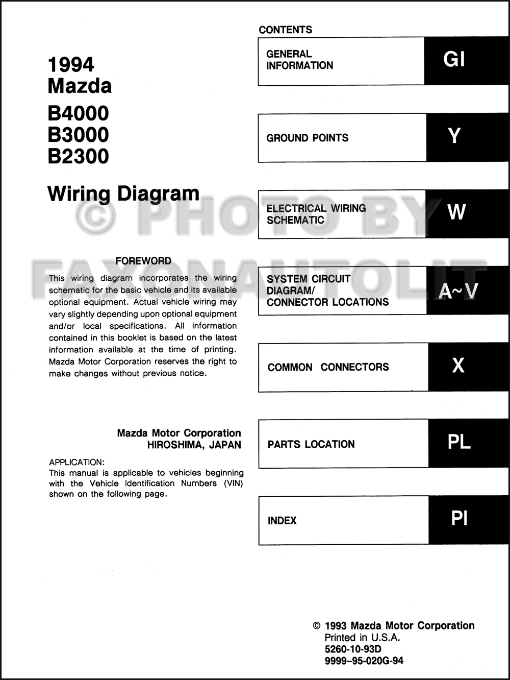 1994MazdaB4000B3000B23000OWD TOC 1994 mazda b4000 b3000 b2300 pickup truck wiring diagram manual 99 Mazda B4000 Fuse Diagram at bayanpartner.co