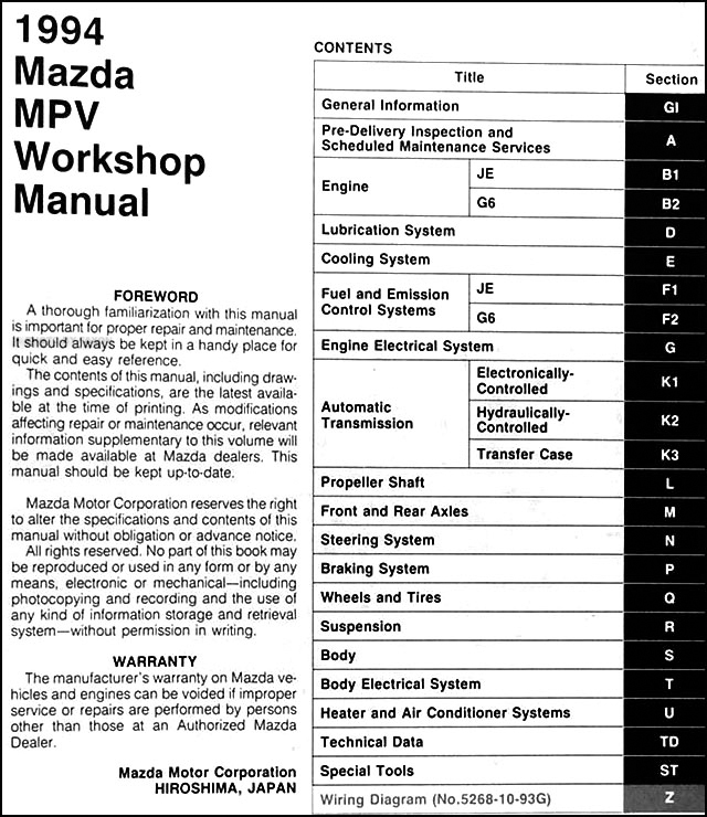 2000 mazda mpv workshop manual free owners manual u2022 rh wordworksbysea com 2001 mazda protege service manual pdf 2001 mazda mpv repair manual pdf