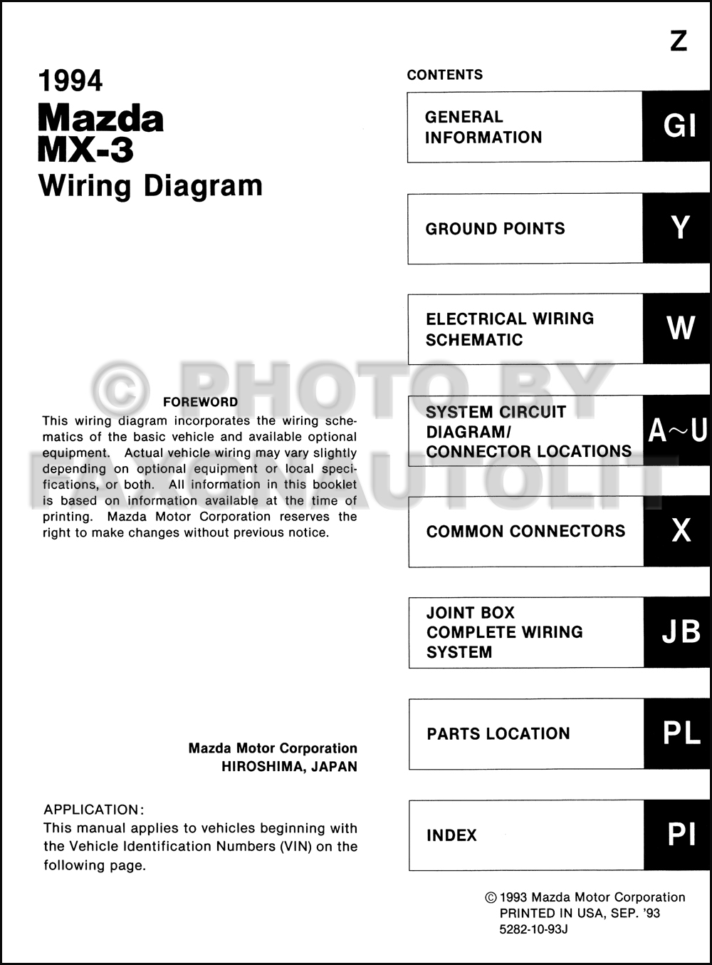 1994 mazda mx 3 wiring diagram manual original rh faxonautoliterature com 1993 mazda mx3 radio wiring diagram