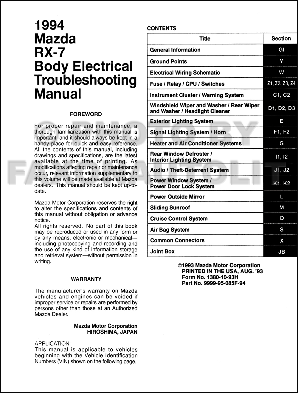 Horns Wiring Diagram Of 1994 Mazda Rx 7 Wire Center Audio System Type 1 Body Electrical Troubleshooting Manual Original Rh Faxonautoliterature Com 12 Lighter Plug Dc