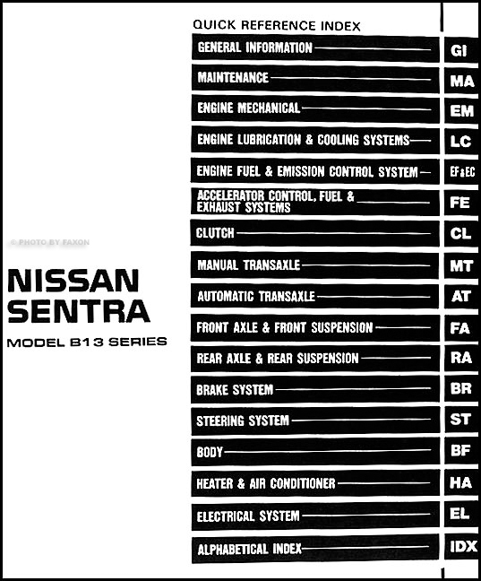 1994NissanSentraORM TOC 1994 nissan sentra repair shop manual original 1994 nissan sentra wiring diagram at honlapkeszites.co