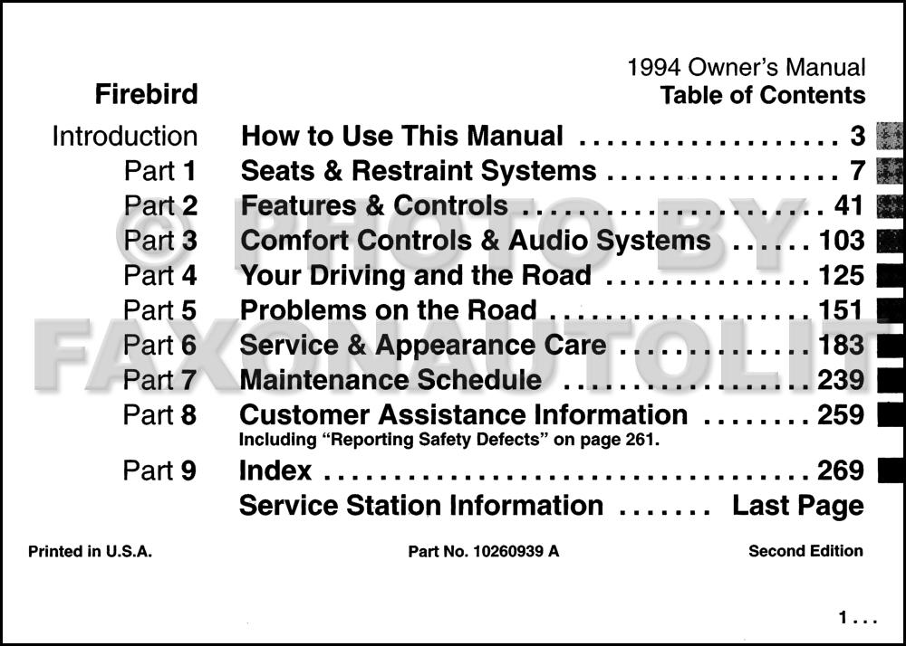 1994 pontiac firebird and trans am owner s manual original rh faxonautoliterature com 1979 Pontiac Firebird Pontiac Trans AM