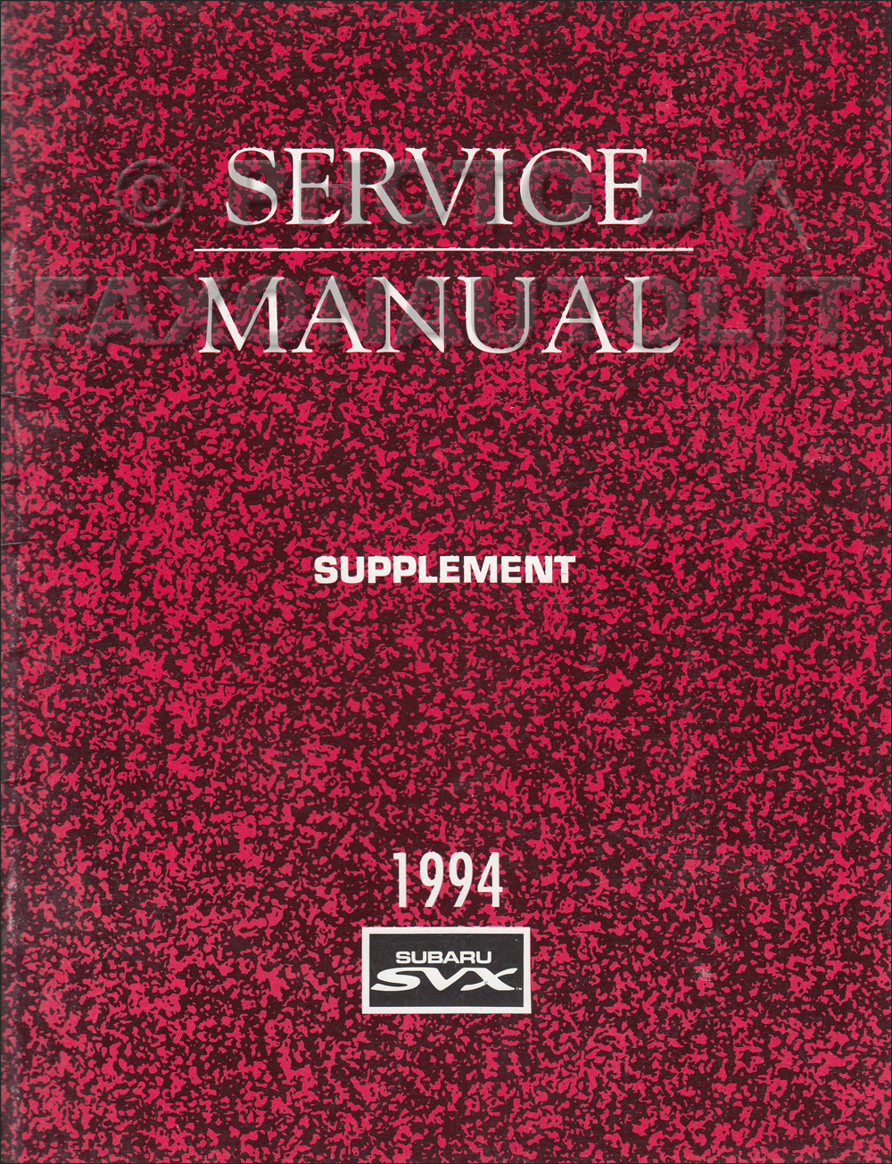 1994 Subaru Svx Wiring Diagram Trusted Schematics Stereo Repair Shop Manual Supplement Original Axles New