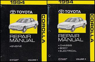 1994 toyota corolla repair shop manual set original rh faxonautoliterature com 94 toyota corolla owners manual 1994 toyota corolla owners manual