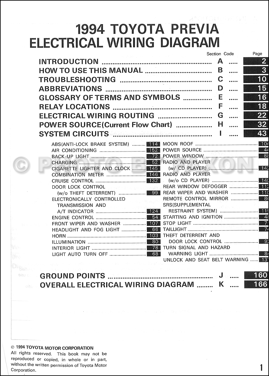 1994 Toyota Previa Wiring Diagram Manual Original Supplement