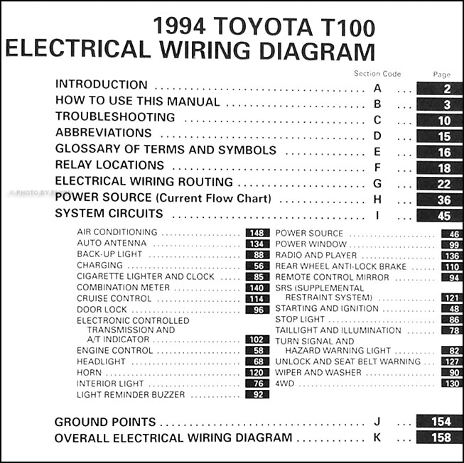 1994 Toyota T100 Truck Wiring Diagram Manual Original