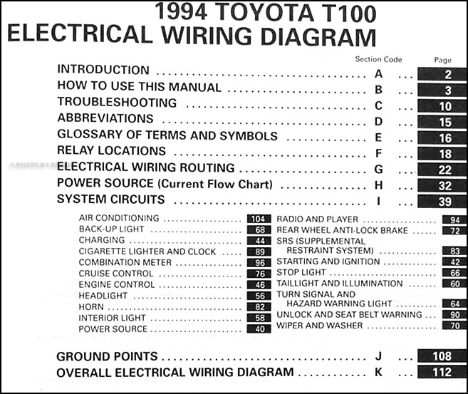 1994ToyotaT100WDS TOC 1994 toyota t100 truck wiring diagram manual original supplement toyota t100 wiring diagram at crackthecode.co