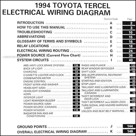 1994 toyota tercel wiring diagram manual original