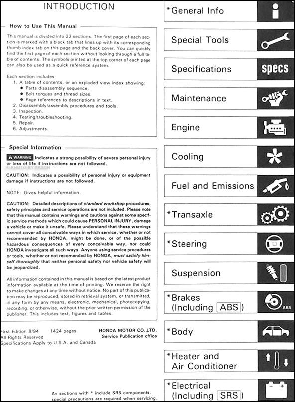 1995 acura integra repair shop manual original rh faxonautoliterature com 1995 acura legend service manual 1996 Acura Integra