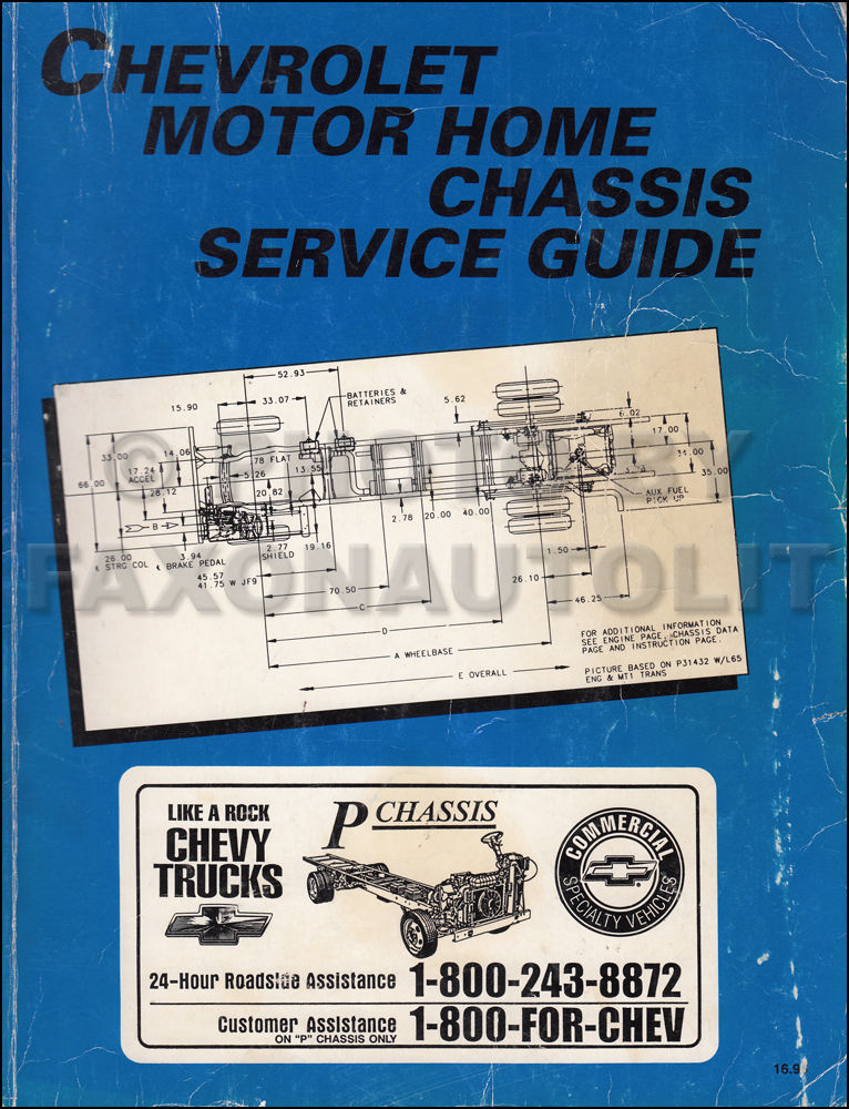 1995 Chevrolet Motorhome Chassis Service Manual Originalrhfaxonautoliterature: 1988 Chevrolet P30 Motorhome Schematic At Gmaili.net