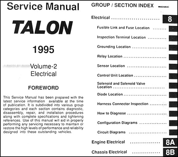 1995EagleTalonORM TOC2 1995 eagle talon repair shop manual original 2 volume set