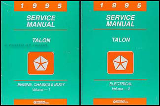 1995 eagle talon repair shop manual original 2 volume set rh faxonautoliterature com Motorcycle Manual Nissan Factory Service Manual