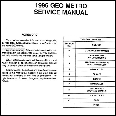 1995 geo metro preliminary repair shop manual original 1991 Geo Storm Wiring Diagram table of contents 1997 Geo Metro Repair Manual
