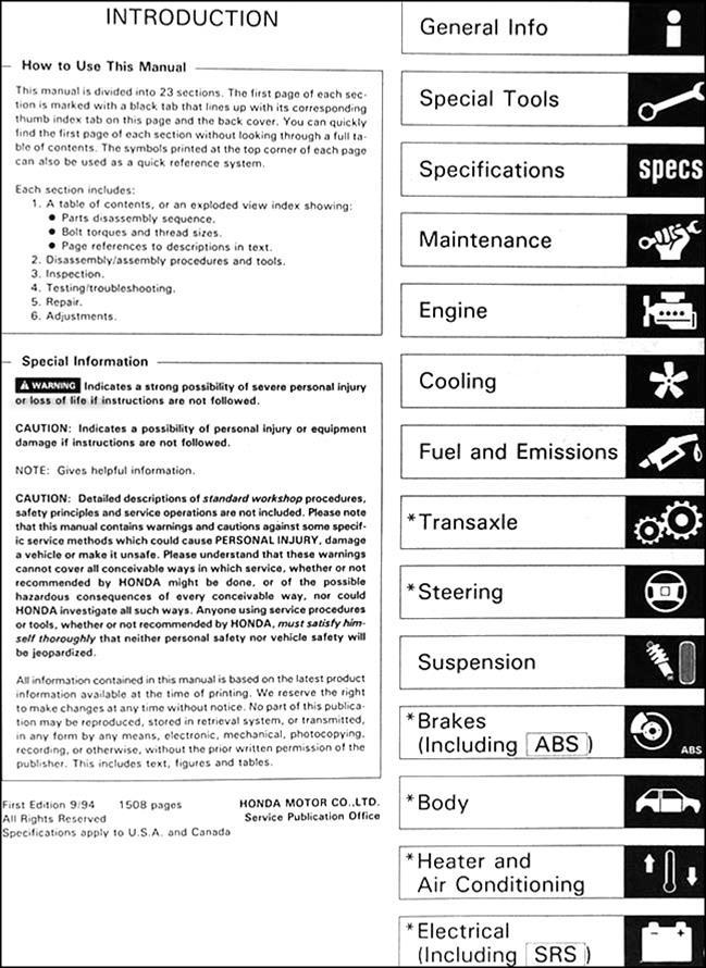 1995 honda accord repair shop manual factory reprint 2 volume set rh faxonautoliterature com 95 honda accord repair manual free pdf Honda Accord Repair Manual Online