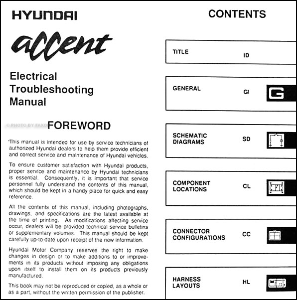 1995HyundaiAccentETM TOC 1995 hyundai accent electrical troubleshooting manual original 1995 hyundai accent wiring diagram at edmiracle.co