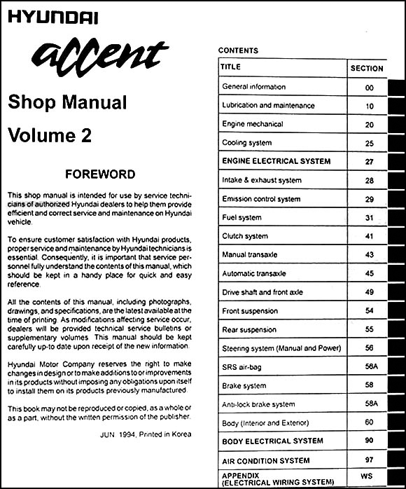 1995HyundaiAccentORM TOC2 1995 hyundai accent repair shop manual original 2 volume set 1995 hyundai accent wiring diagram at edmiracle.co