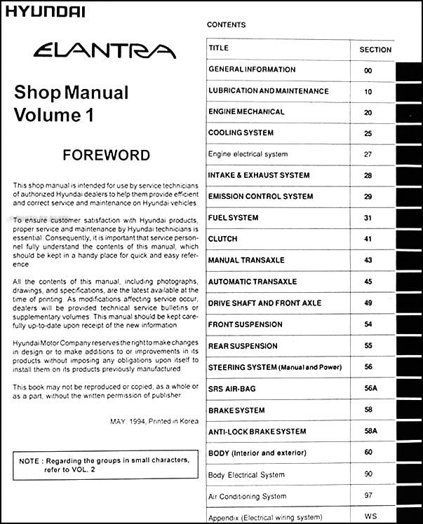 1995 hyundai elantra repair shop manual original 2 vol set rh faxonautoliterature com Hyundai Elantra Dash Emblem Hyundai Elantra Owner's Manual
